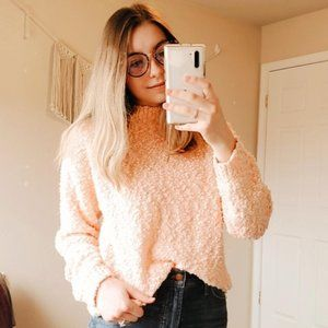 VINTAGE Peach Popcorn Chunky Knit Mock Sweater S
